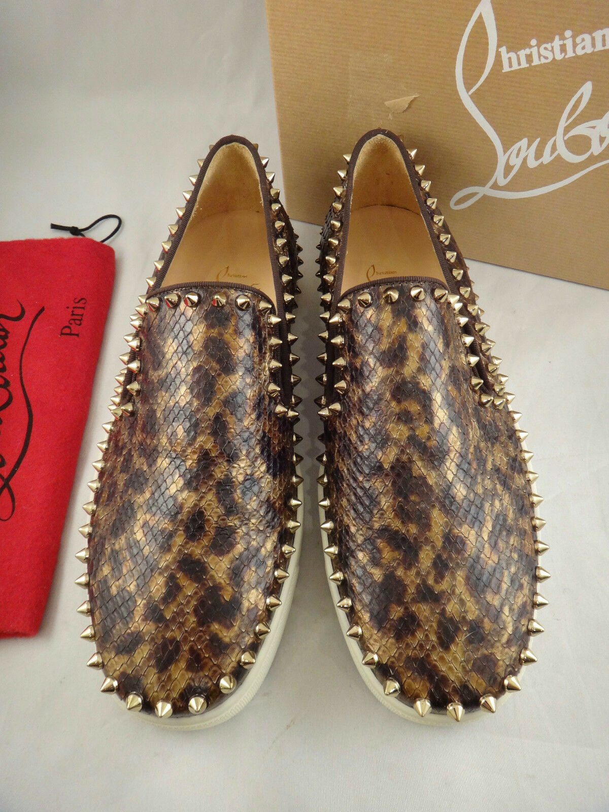 New in Box Christian Louboutin PIK bateau Python Leopard Roller Spike baskets 38 1395