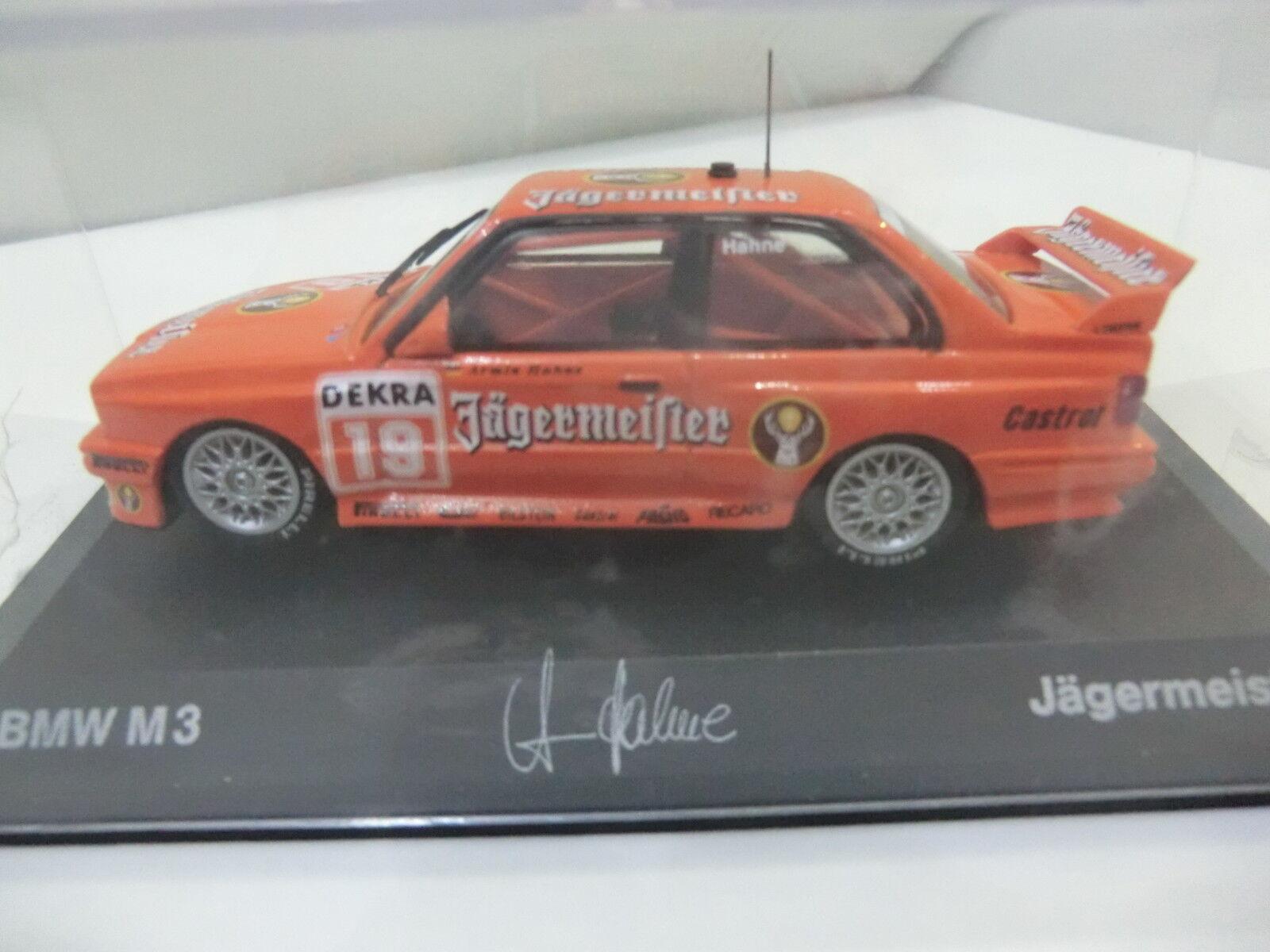 Bmw m3 e30 1 43 DTM Jägermeister Armin Hahne + autógrafo Minichamps nuevo embalaje original