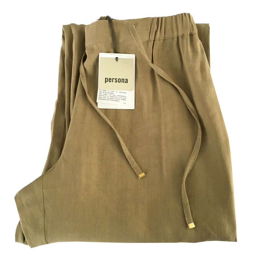 Persona by Marina Rinaldi Women's Trousers Bisque with Elastic Waist and Ties