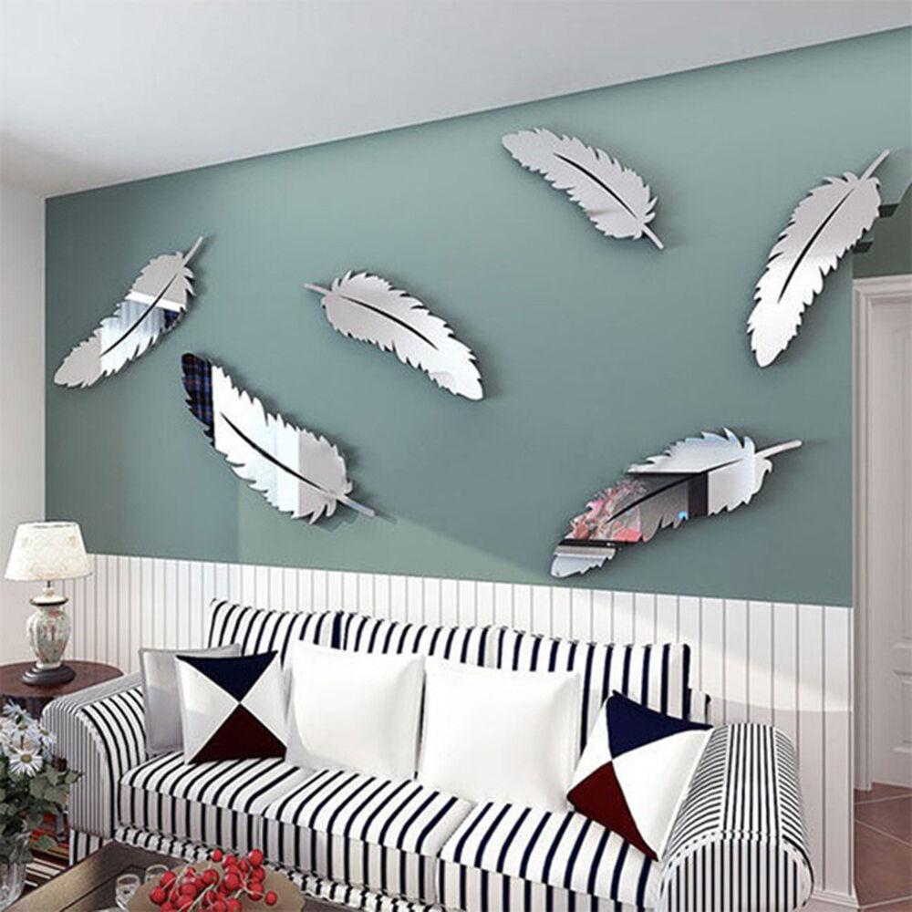 Home Decoration - UK_ 8 PCS/SET MODERN FEATHER ACRYLIC MIRROR WALL ART STICKER HOME OFFICE DECOR O