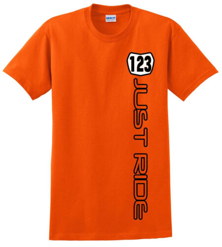 ORANGE JUST RIDE CUSTOM NUMBER PLATE YOUTH T SHIRT CHILD MX MOTOCROSS KTM SX