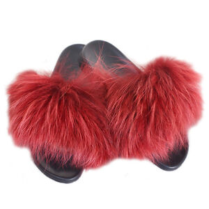 genuine red raccoon fur slides new natural fur slippers sandals
