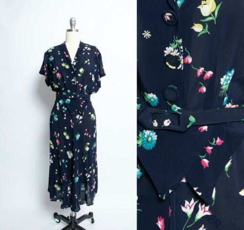 1940s Dress Rayon Floral Navy Semi Sheer Large Vol