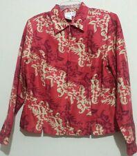 PIANO Women's 100% Silk Career Blouse Top Floral Multi Color Front Closure Sz 6