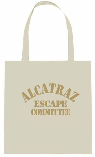 ALCATRAZ ESCAPE COMMITTEE SHOPPING TOTE BAG BLACK ECO RAW NATURAL 15L HANDLE