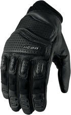 ICON Super Duty 2 Perforated Short Gauntlet Motorcycle Gloves (Black) M (Medium)