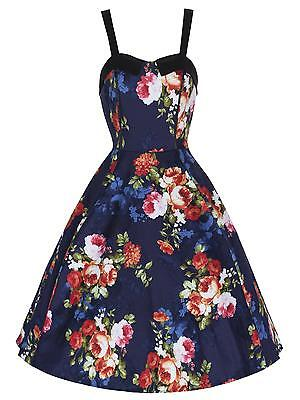 Stunning Navy Blue Floral Cotton Rockabilly Flared Prom Tea Dress New 8 - 18