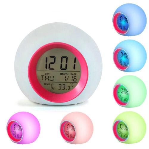 LED Wecker Digital Kinder Alarmwecker Lichtwecker Stimmungslicht Nachttischlampe