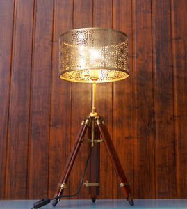 Vintage-Nautical-Teak-Tripod-Table-Lamp-Industrial-antique-restoration-Lamp