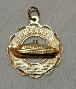 Vintage-14K-Yellow-Gold-St-Maarten-Cruise-Ship-Charm-or-Pendant