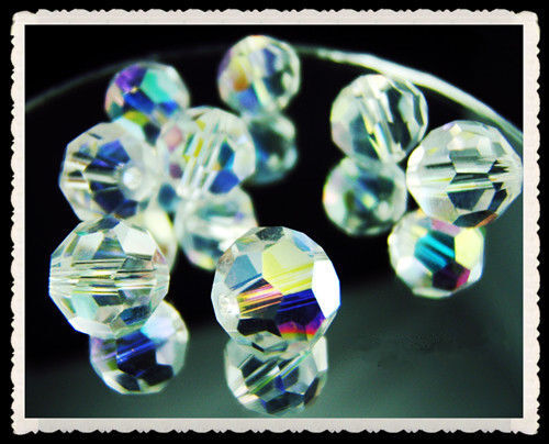 Lot NWT 50~200PCS #5000 Clear AB crystal Round Charms Spacer Beads 4,6,8mm