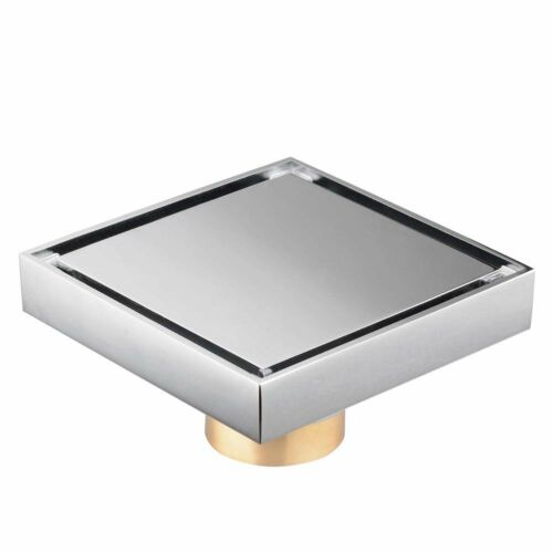"""Rolya Chrome Square Style 4/""""x4/"""" Copper Floor Drain with Chrome Tile Insert Grate"""