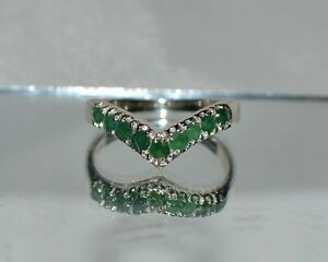 GLAMOROUS-1-00-ct-NATURAL-GENUINE-AFRICAN-EMERALD-SILVER-STACKABLE-RING