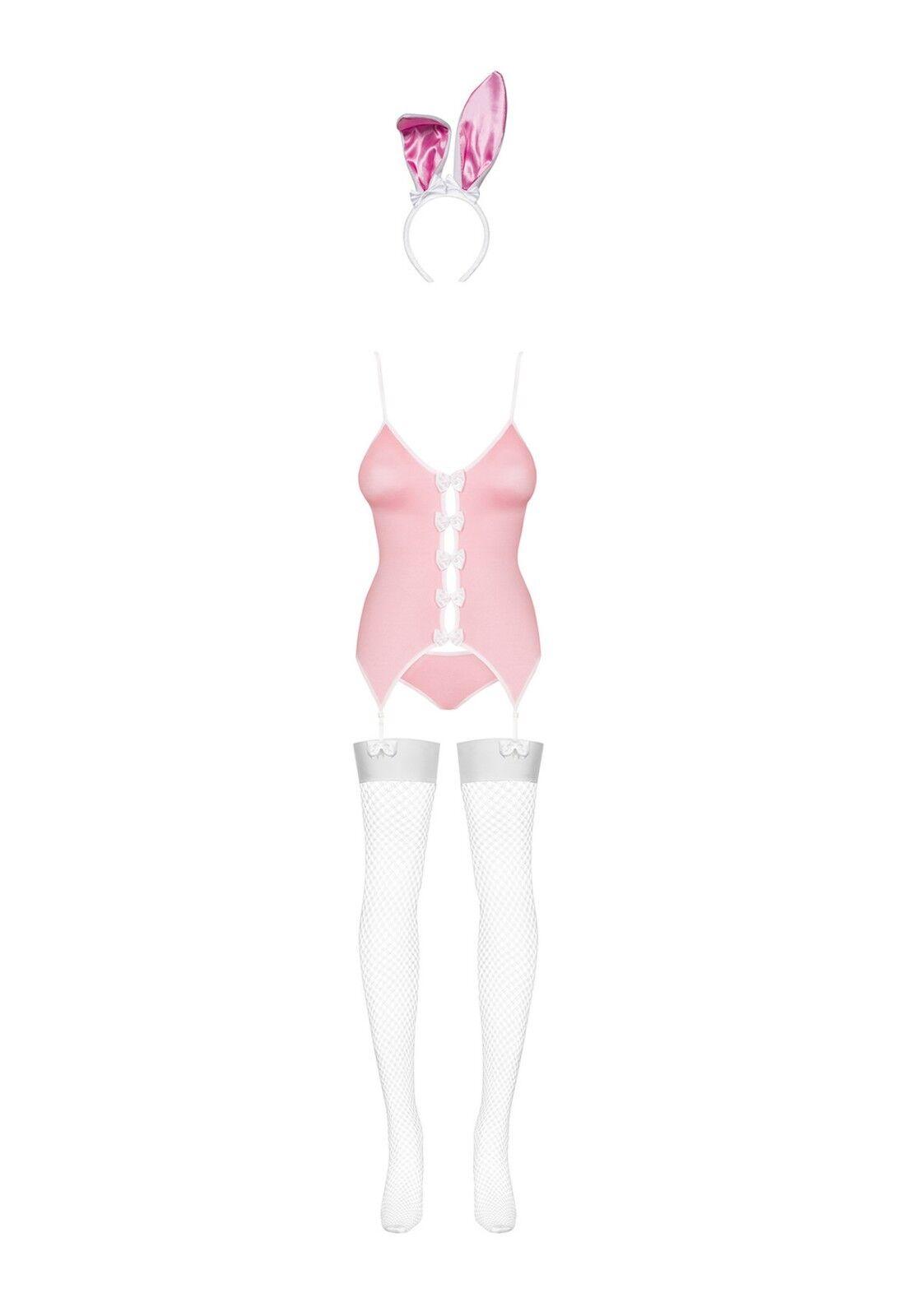 Bunny Kostüm Obsessive Rosa Weiß S M M M L XL Sexy Häschen Ohren Strapse Strümpfe     | Verschiedene Stile und Stile  d2d952