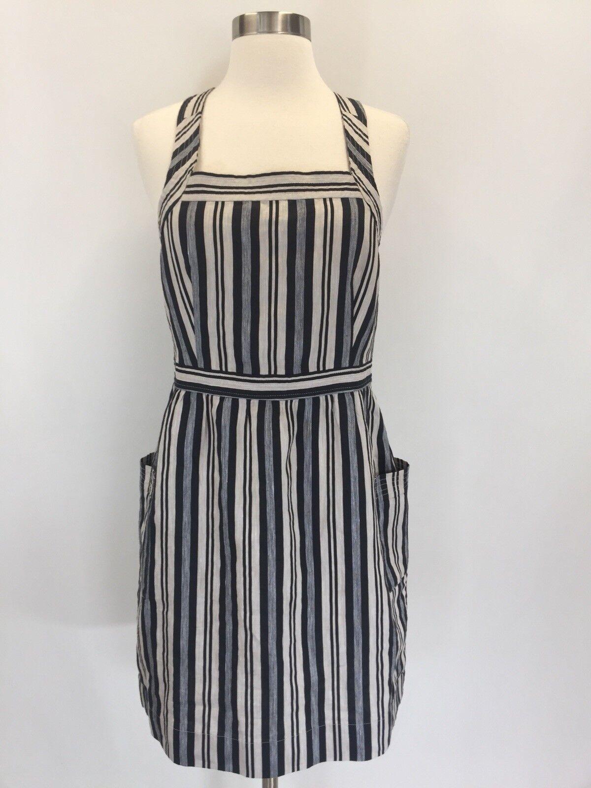 New Madewell Apron Mini Dress in Evelyn Stripe Stone Sz 8 J3711