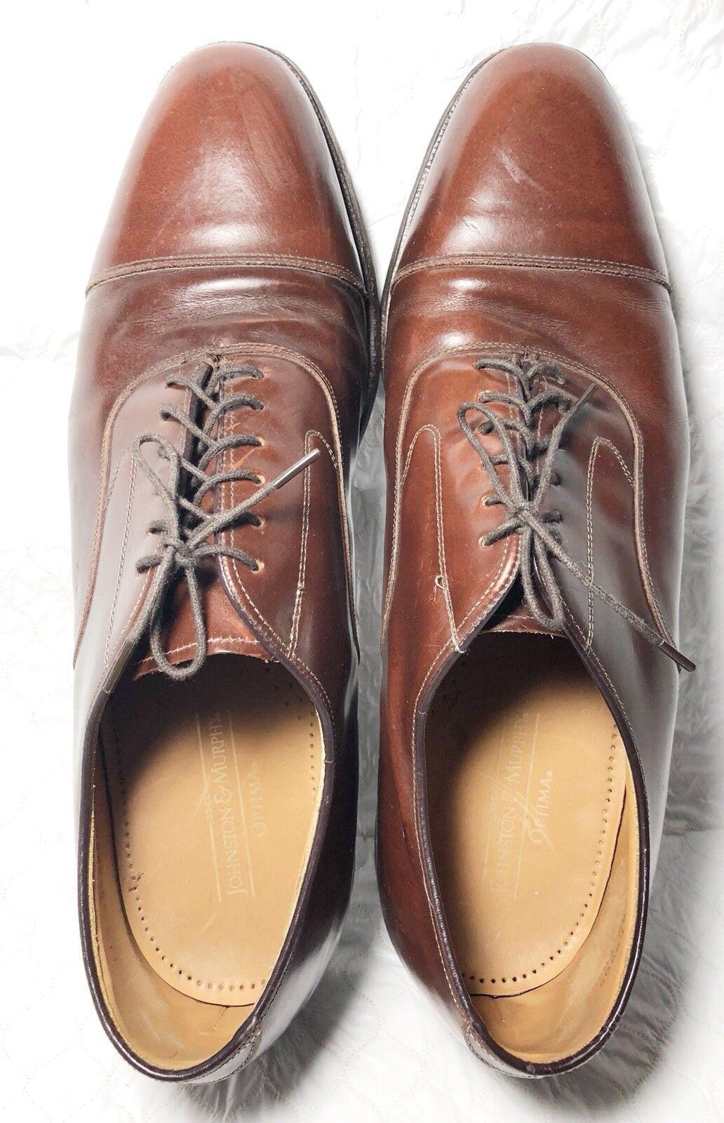 Johnston & Murphy Optima Men's Burgundy Leather Cap Toe Oxford Size 11 1 2 B