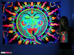 Image Is Loading RAINBOW SUN Psychedelic Art UV Black Light Tapestry