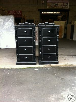 NEW HAND MADE x 2 BLACK 4 DRAWER BEDSIDE CABINETS (NO FLAT PACKS) X 2