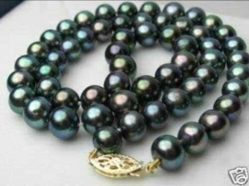 """10-11 mm Black Akoya Cultured Pearl Necklace 17/"""" 14K RARE"""
