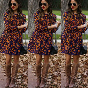 Women-039-s-Fashion-Ladiesa-Long-Sleeve-Autumn-Print-Casual-Loose-Blouse-Dresses