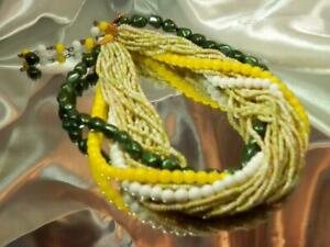Vintage 1970's Multi Strand Glass Seed Bead And Green Lucite Necklace  845my9