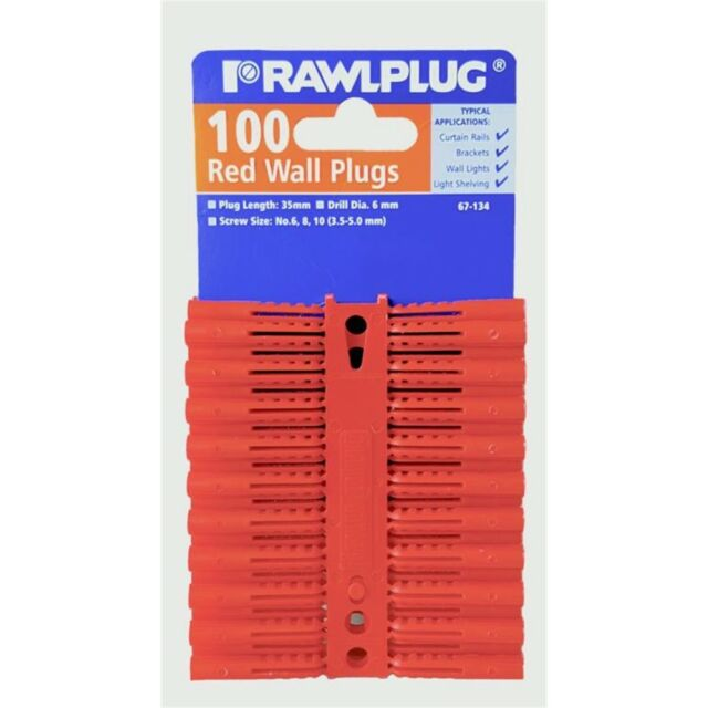 Rawlplug Red Plastic Plug, Clip Of 100 (carded)