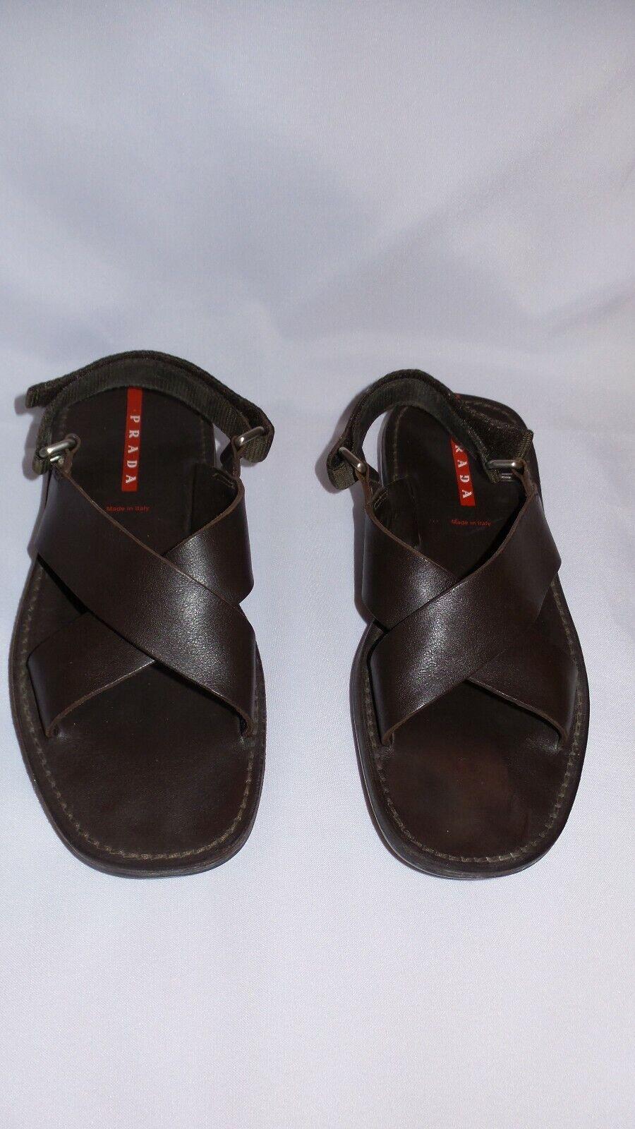 Sandalia de cuero marrón para hombre PRADA Tamaño  6