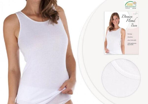 4 Stück Damen Unterhemd   Achselhemd  Top Hemd  weiß   Baumwolle