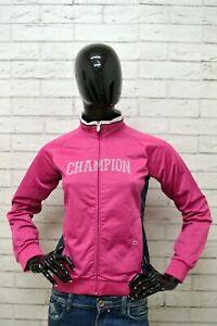 Felpa-CHAMPION-Donna-Taglia-Size-L-Maglione-Sweater-Pullover-Woman-Rosa-Slim-Zip