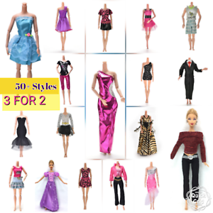 3 For 2 Barbie Clothes Outfit Dress Doll Girls Ken Sets Costume New