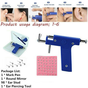 Pro Ear Piercing Tool with 98pcs Studs Kit Tool Set Ear Nose Navel Body Piercing