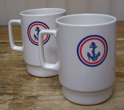 2 Melania Anchor Sailing Boat Coffee Mug Cup Melamine Melmac Stackable