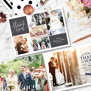 Personalised-Wedding-Thank-You-Cards-Free-Envelopes-Your-Photos-Rustic