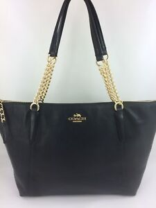 New-Authentic-Coach-F22211-F29007-Pebble-Leather-AVA-Chain-Tote-Purse-Bag-Black