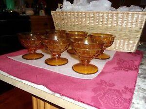 6 Vintage Glass Amber Gold Glass Pedestal Dessert Ice Cream Sherbet Bowl Dish