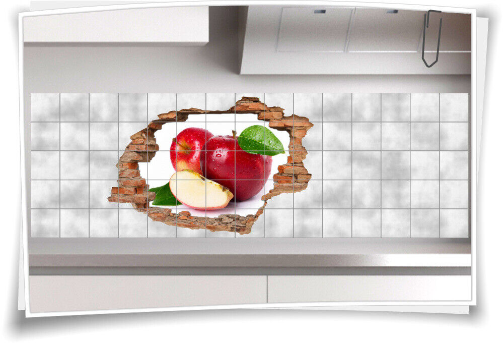 Fliesen-Bild Wand-Durchbruch 3D Fliesen-Aufkleber Apfel Kernobst Pflanze Tropfen