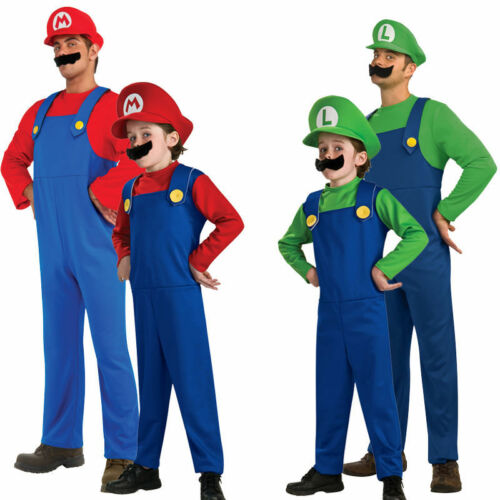 Mens Adult Kid Super Mario and Luigi Bros Fancy Plumber Christmas Costume Outfit