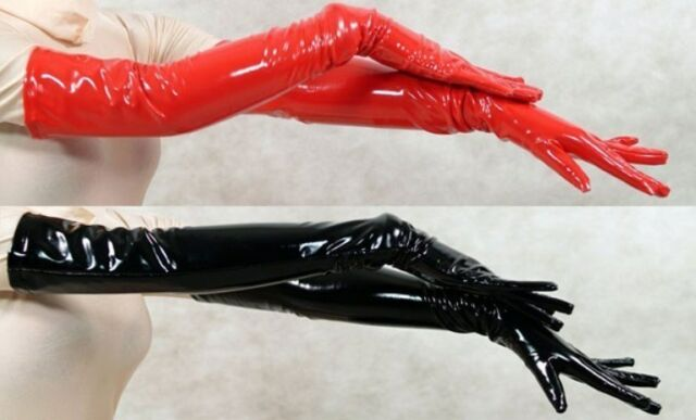 Black or Red Vinyl (PVC) Latex Opera Length Gloves - 22 inches long