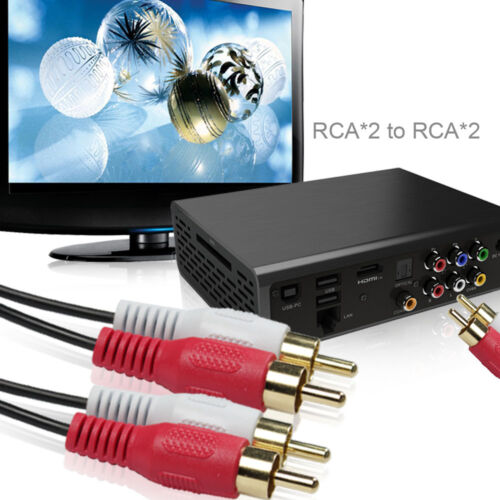 2 RCA M//M Stereo Audio Cable 24K Gold Plated Copper Core Dual Shielded Cord 2-8M