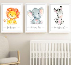 Safari-jungle-animaux-Nursery-Imprime-Set-de-3-Chambre-de-bebe-photos-Wall-Art-Decor