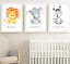 Safari-jungle-animaux-Nursery-Imprime-Set-de-3-Chambre-de-bebe-photos-Wall-Art-Decor miniature 1