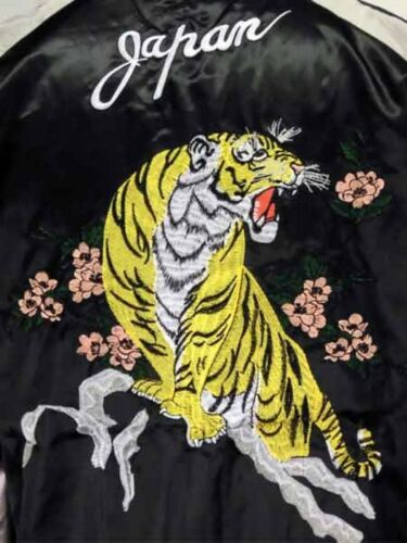 Farvebroderi Satin Japansk Jakke × Jp Japan Ny Sukajan Sølv Tiger Sort qwqOpxrEI