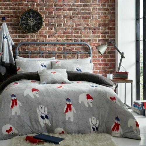 Teddy Bear Fleece Duvet Cover Set Thermal Warm Soft Sherpa Bedding POLAR BEAR