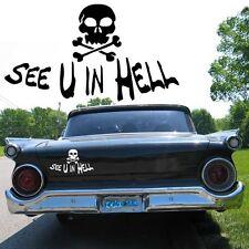 Auto Aufkleber Totenkopf Skull See U in Hell | Motorrad Decal Sticker  20 Farben