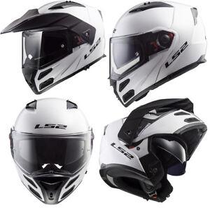 LS2-FF324-METRO-EVO-DUAL-VISOR-FLIP-FRONT-MOTORBIKE-ADVENTURE-HELMET-GLOSS-WHITE