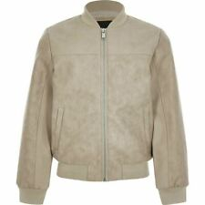 River Island Boys Stone Faux Leather Bomber Jacket