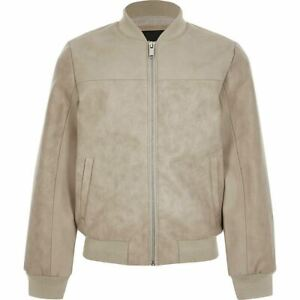 River Island Boys Stone Faux Leather Bomber Jacket