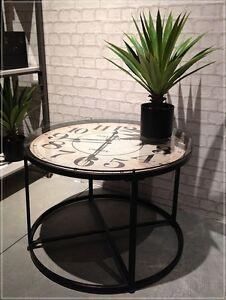 Beistelltisch Couchtisch Mit Uhr Rund O 80 Tisch Glasplatte