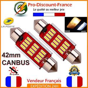 2-x-Ampoule-41mm-42mm-Navette-LED-C5W-C10W-Anti-Erreur-CANBUS-Plafonnier-40mm