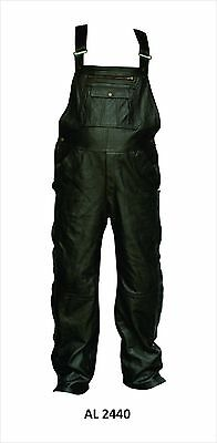 Mens Black Premium Analine Cowhide Leather Overalls